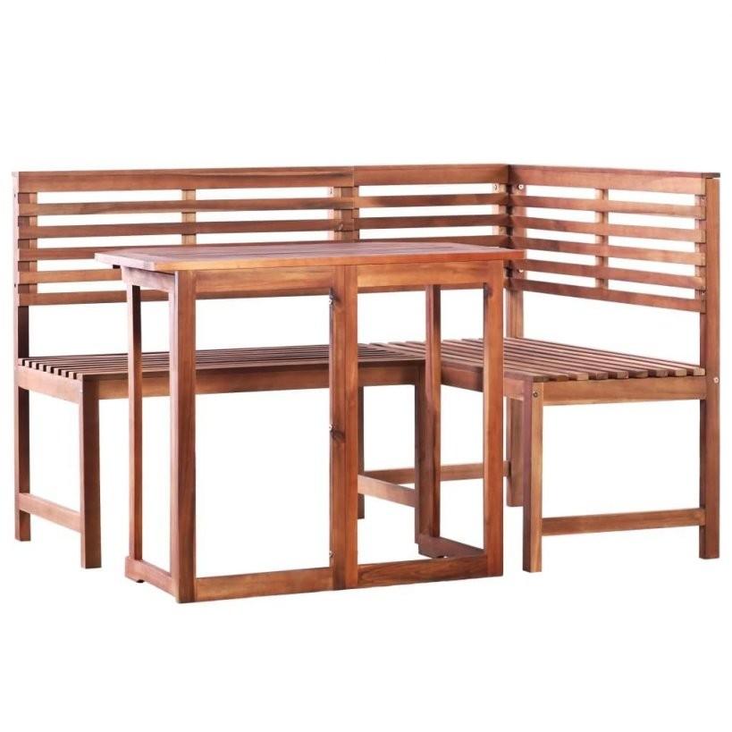 Vidaxl 2Tlg Bistroset Akazie Massivholz  Real von Balkon Eckbank Mit Tisch Photo