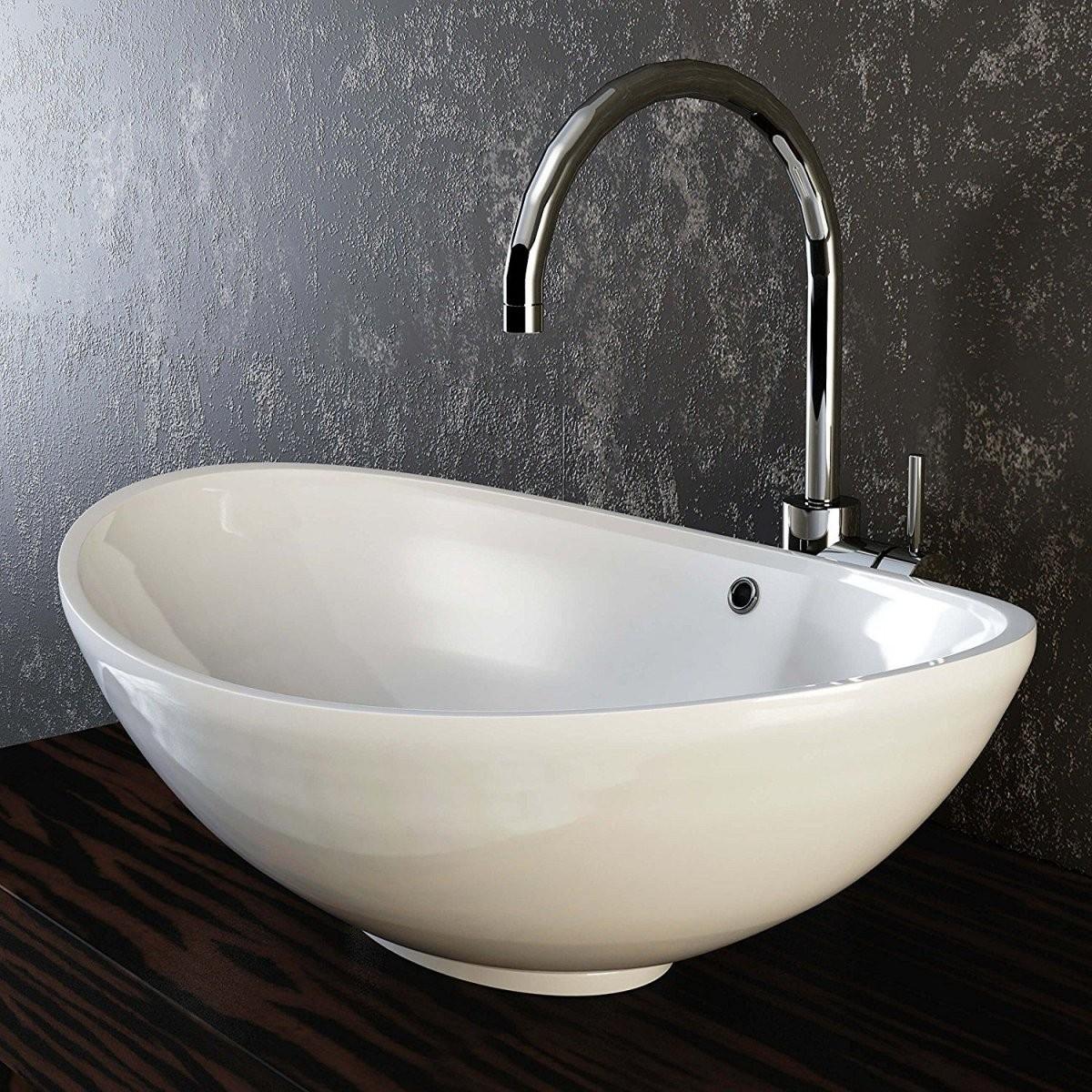 Vilstein© Keramik Waschbecken Aufsatzwaschbecken Aufsatz von Waschbecken Aufsatz Mit Unterschrank Bild