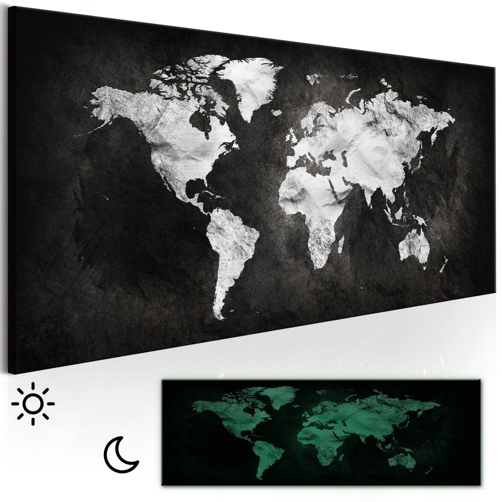 Vlies Leinwand Bilder Weltkarte Schwarz Weiß Wandbilder Xxl Bild 3D von Leinwandbilder Schwarz Weiß Xxl Bild