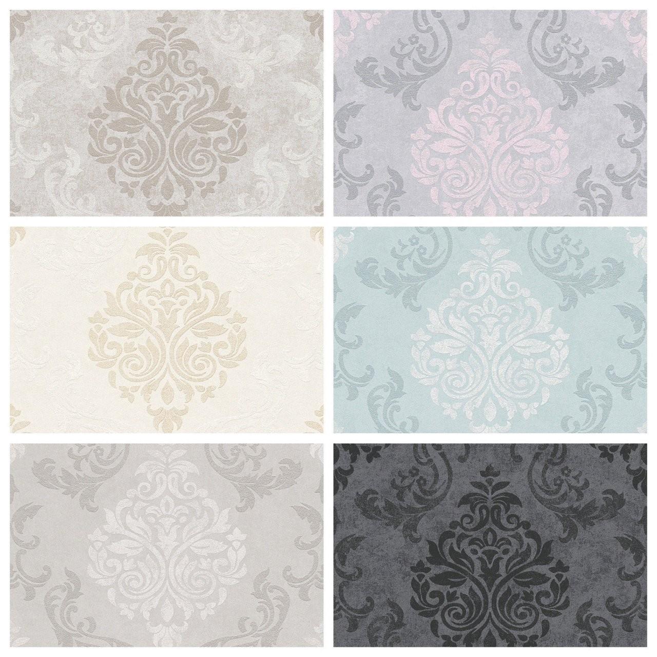 Vlies Tapete Barock Muster Ornament Glitzer Anthrazit Rosa Grau von Graue Tapete Mit Glitzer Bild