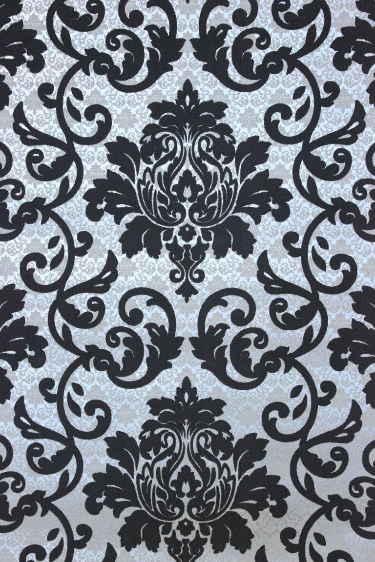 Vlies Tapete Barock Muster Ornament Schwarz Silber Grau Metallic von Schwarze Tapete Mit Muster Photo