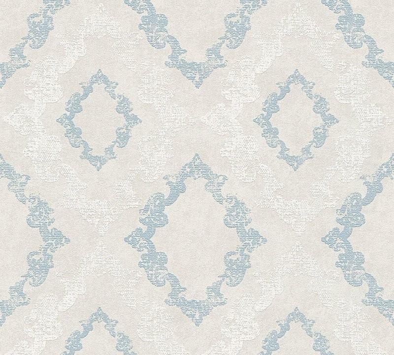Vlies Tapete Barock Ornament Glitzer Pastell Grau Blau Weiß 329893 von Graue Tapete Mit Glitzer Bild