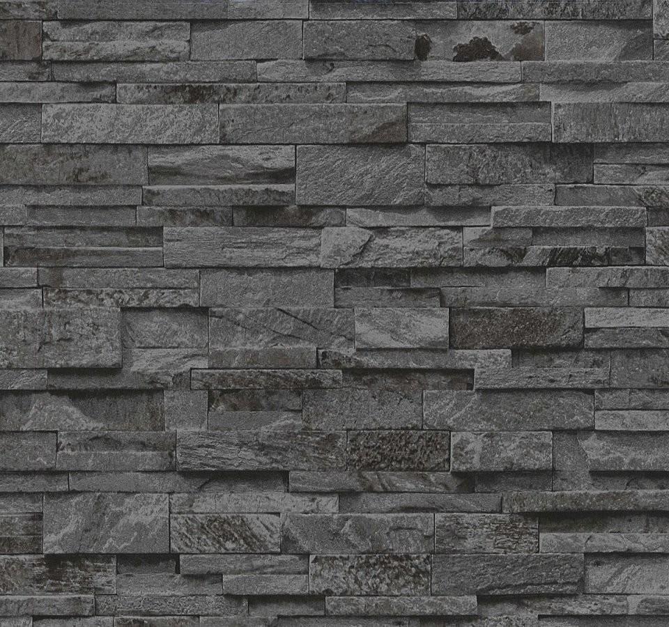 Vliestapete P+S Stein 3D Optik Schwarz Grau Mauer 0236340 von Tapeten In Steinoptik 3D Bild