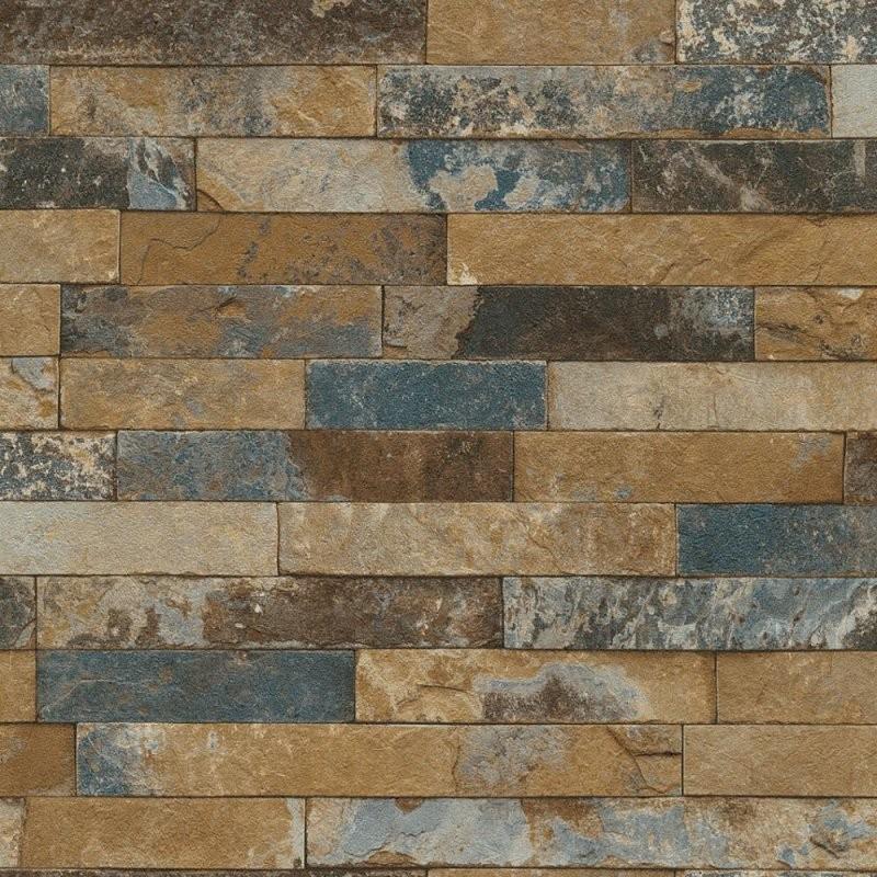 Vliestapete Rasch 3D Steinoptik Mauer Blau 475104 von Rasch Factory Stein Optik Mauer Vlies Tapete Photo
