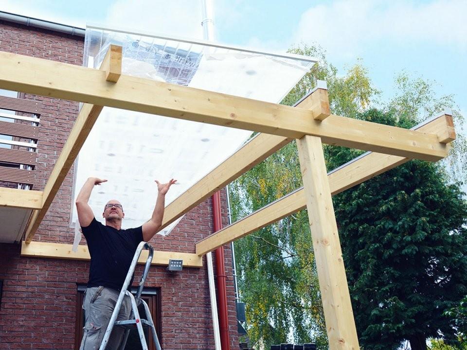 Vordach Aus Holz Und Glas Selber Bauen von Vordach Selber Bauen Bauanleitung Bild