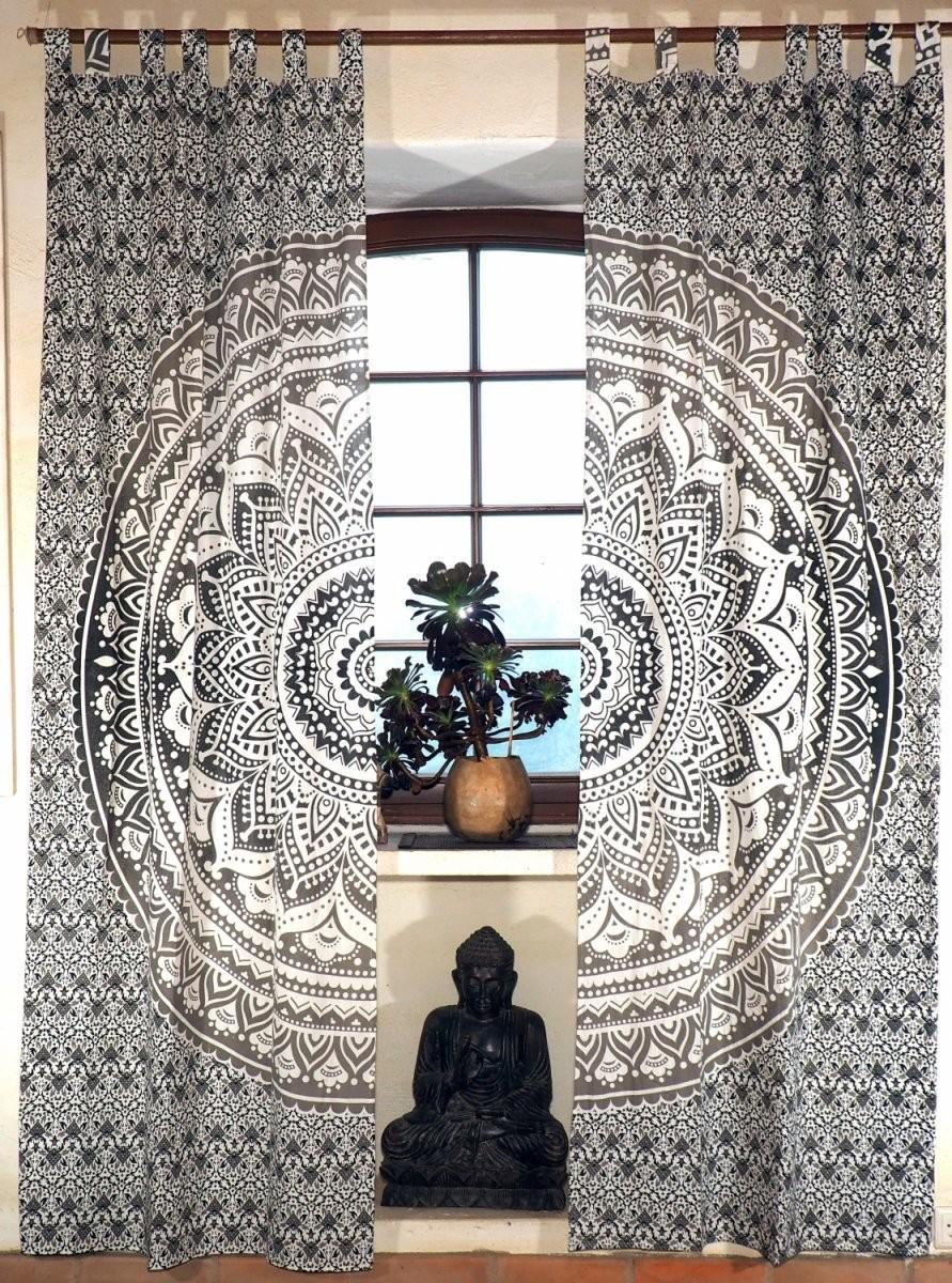 Vorhang Gardine (1 Paar Vorhänge Gardinen) Mit Schlaufen Mandala Motiv   Weißgrauschwarz  240X100 Cm von Gardinen Schwarz Weiß Grau Bild