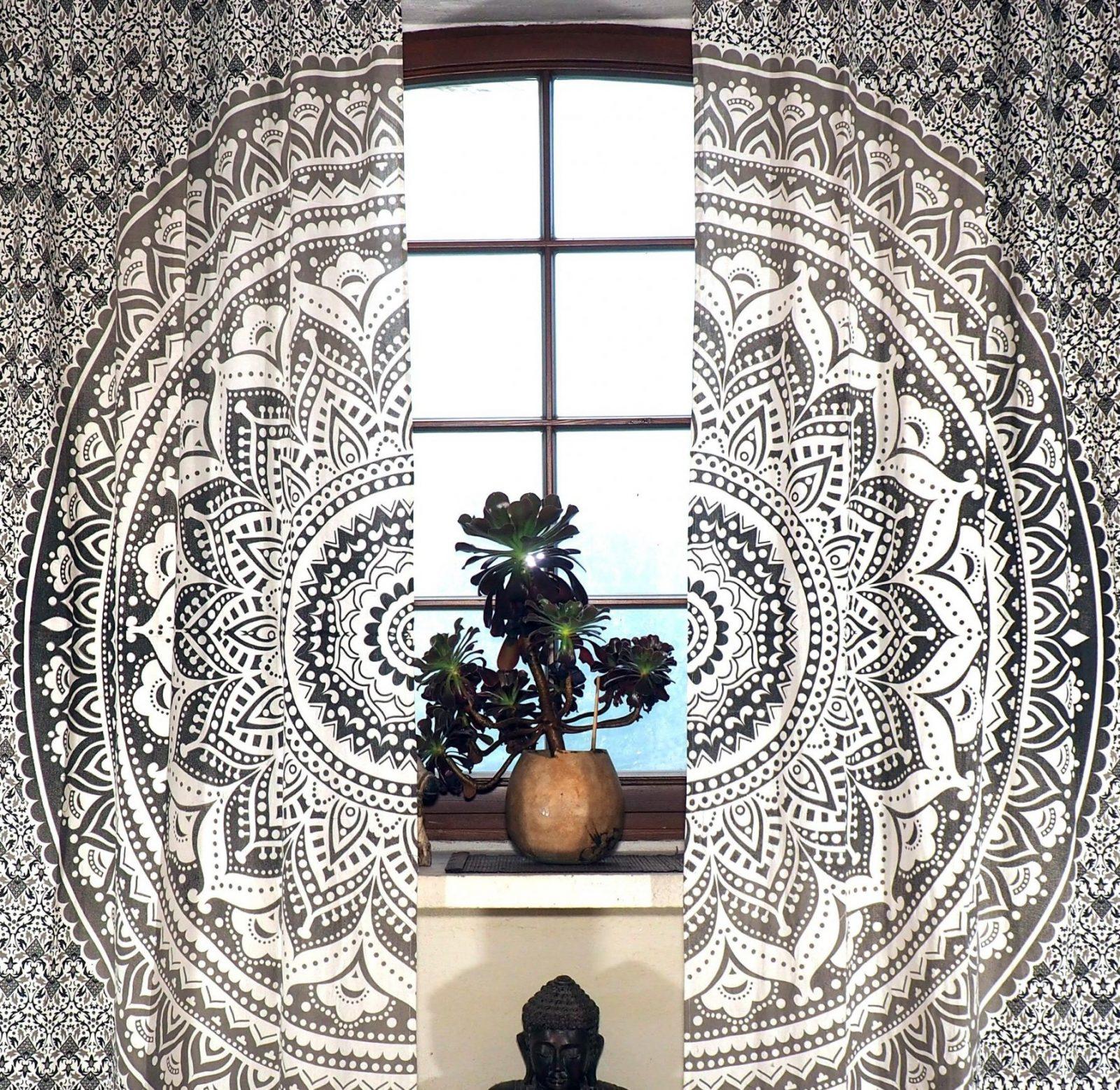 Vorhang Gardine (1 Paar Vorhänge Gardinen) Mit Schlaufen Mandala von Gardinen Schwarz Weiß Grau Bild
