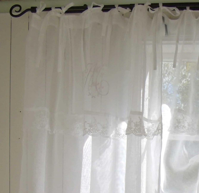 Vorhang Gardine Leinen Gardinen Schal 120X240 Cm Weiß Shabby von Leinen Gardinen Mit Spitze Photo
