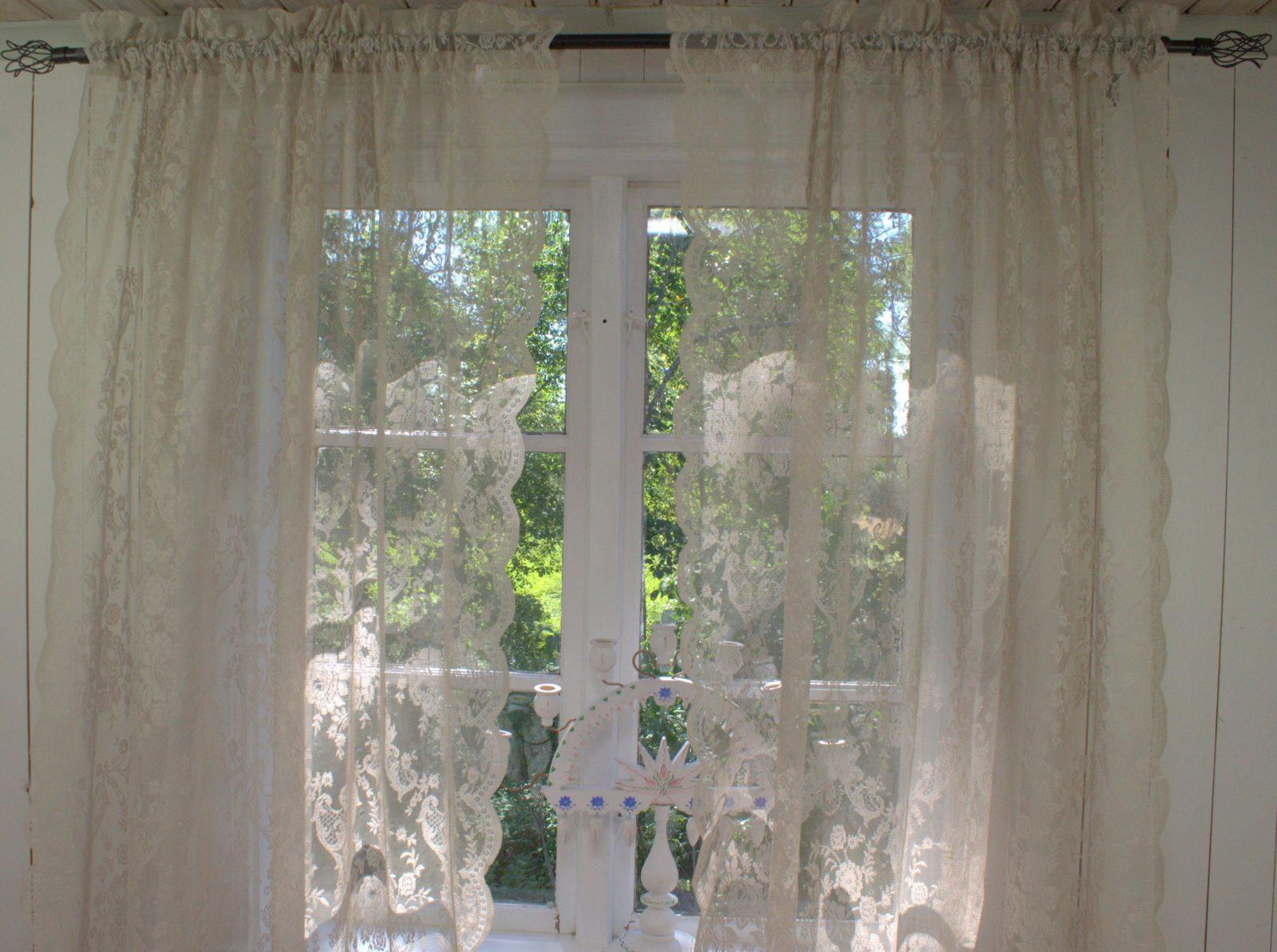 Vorhang Lucia Sand Spitzen Gardine Rosen 120X240 Cm 2 Stück von Leinen Gardinen Mit Spitze Photo