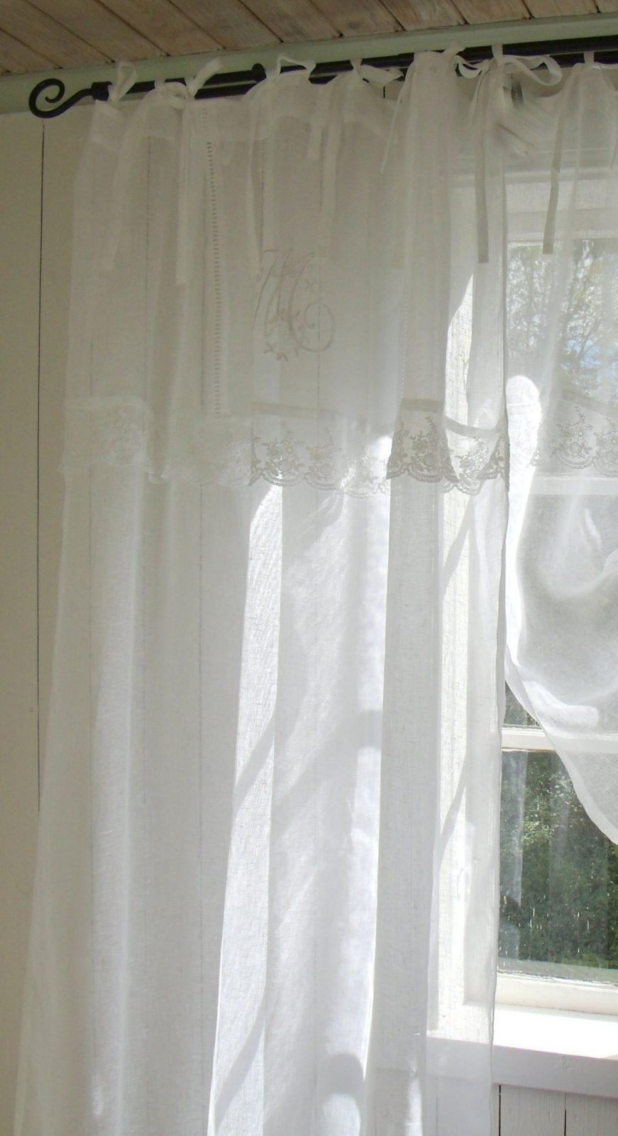 Vorhang Mariella Leinen Gardinen 1 Schal 120X240 Cm Weiß Shabby von Leinen Gardinen Mit Spitze Photo