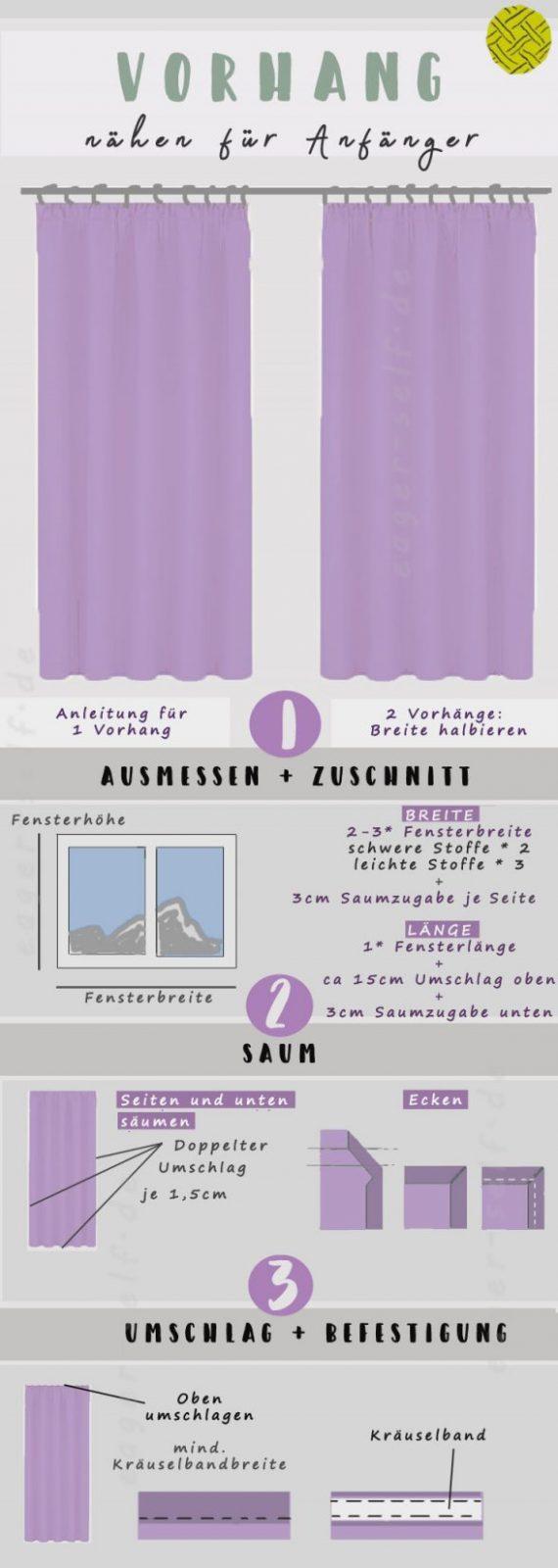 Vorhang Nähen  Einfache Anleitung Für Anfänger In 3 Schritten von Gardinen Selber Nähen Faltenband Bild