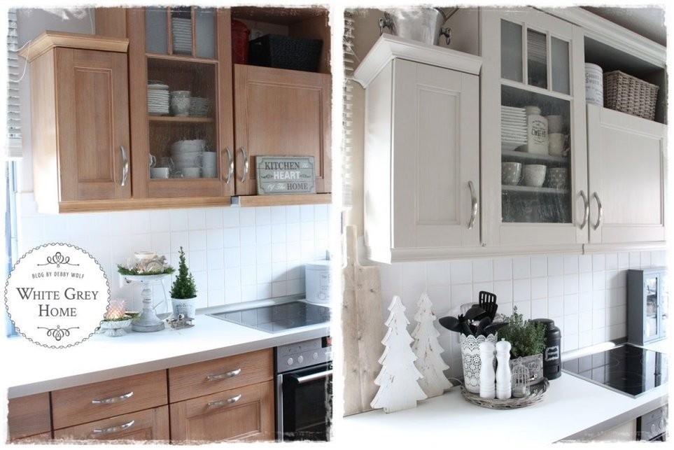 Vorher Nachher In Einer Landhausküche  Kitchen  Haus Küchen von Küchenfronten Lackieren Vorher Nachher Photo