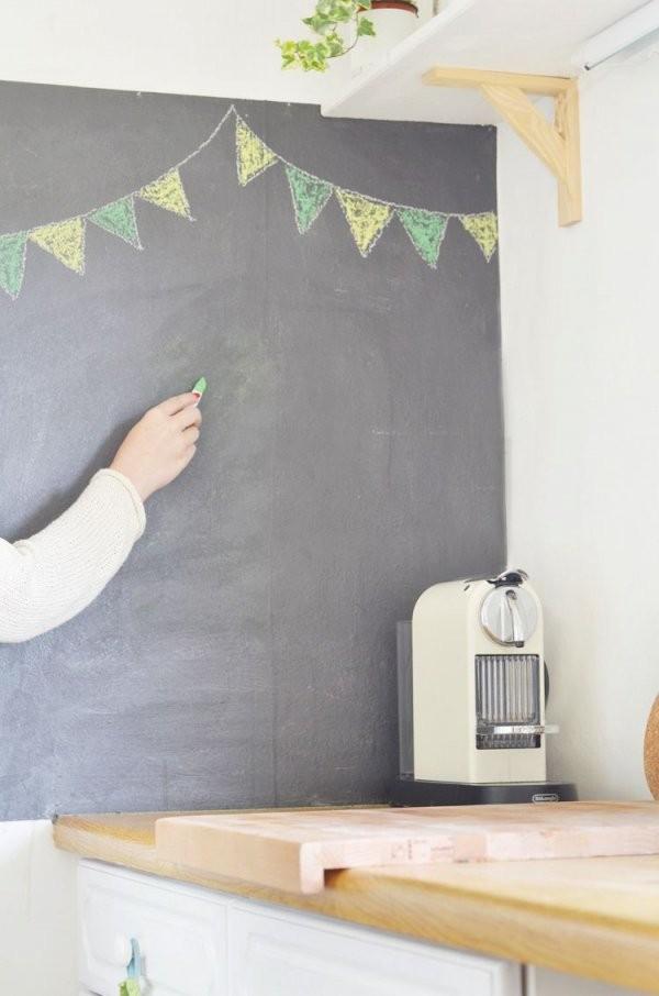 Wand Mit Tafelfarbe Streichen  Interior  Pinterest  Tafelfarbe von Wände Streichen Ideen Küche Photo
