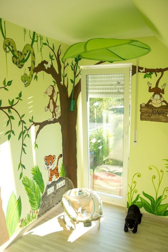 Wandgestaltung Kinderzimmer Dschungel In 2019  Kinderzimmer Ideen von Wandgestaltung Kinderzimmer Selber Machen Bild