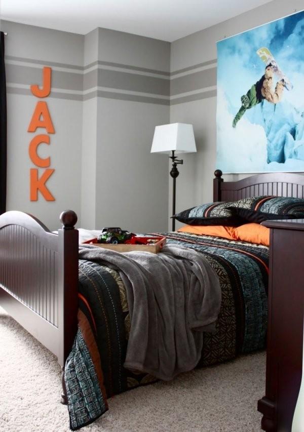 Wandstreichenideenjugendzimmergrauewandfarbestreifenorange von Ideen Zum Wände Streichen Photo
