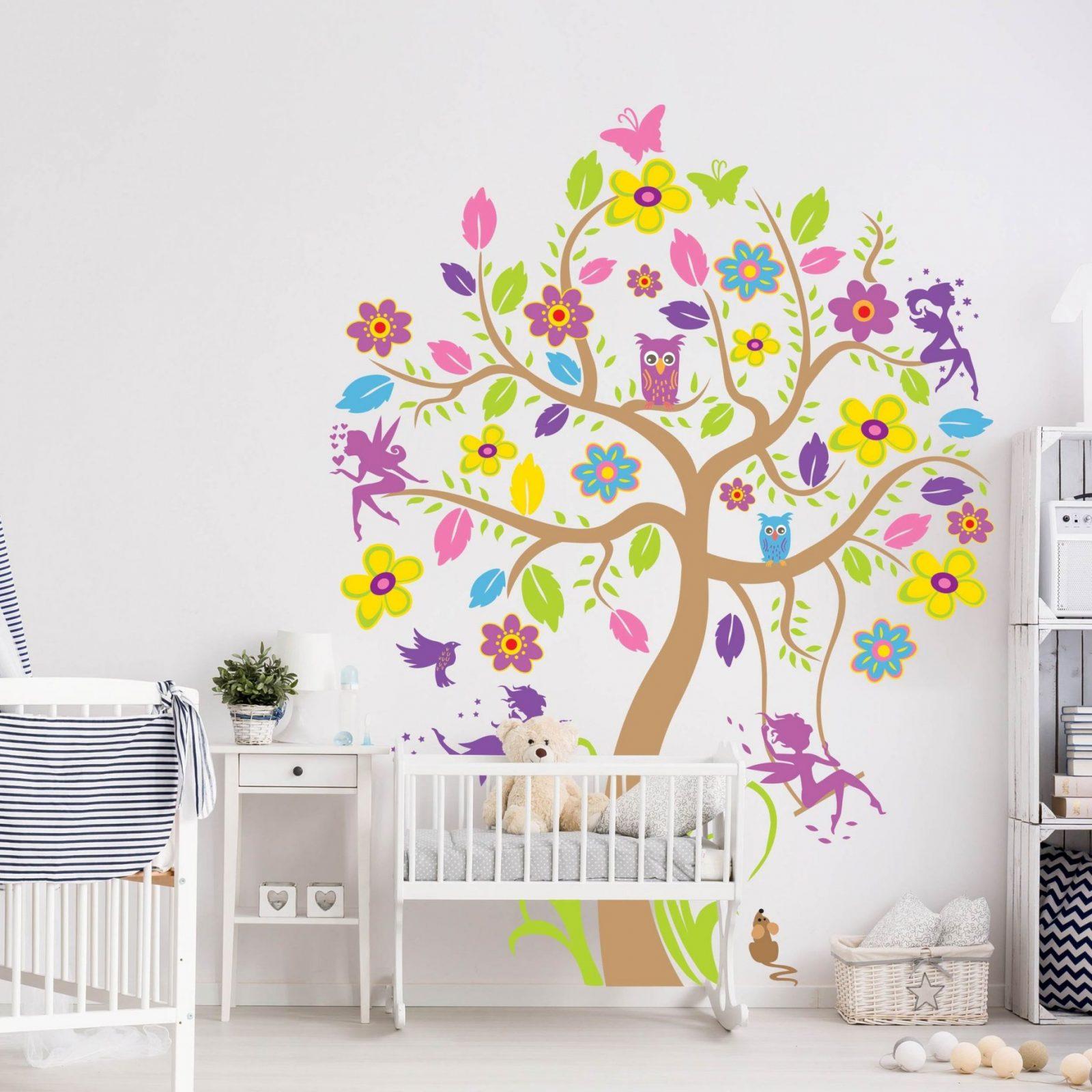 Wandtattoo Babyzimmer Wald  Baum  Vögel Schmetterling Eule Nobp26 von Wandtattoo Baum Kinderzimmer Xxl Photo