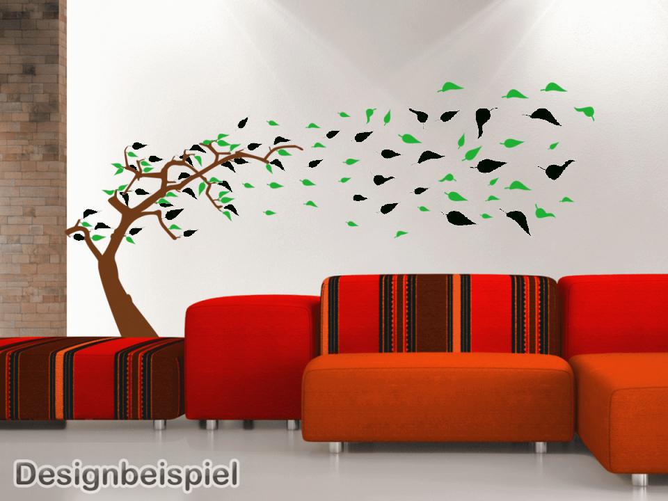 Wandtattoo Baum Im Wind Zweifarbig – Tocut von Wandtattoo Baum Im Wind Bild
