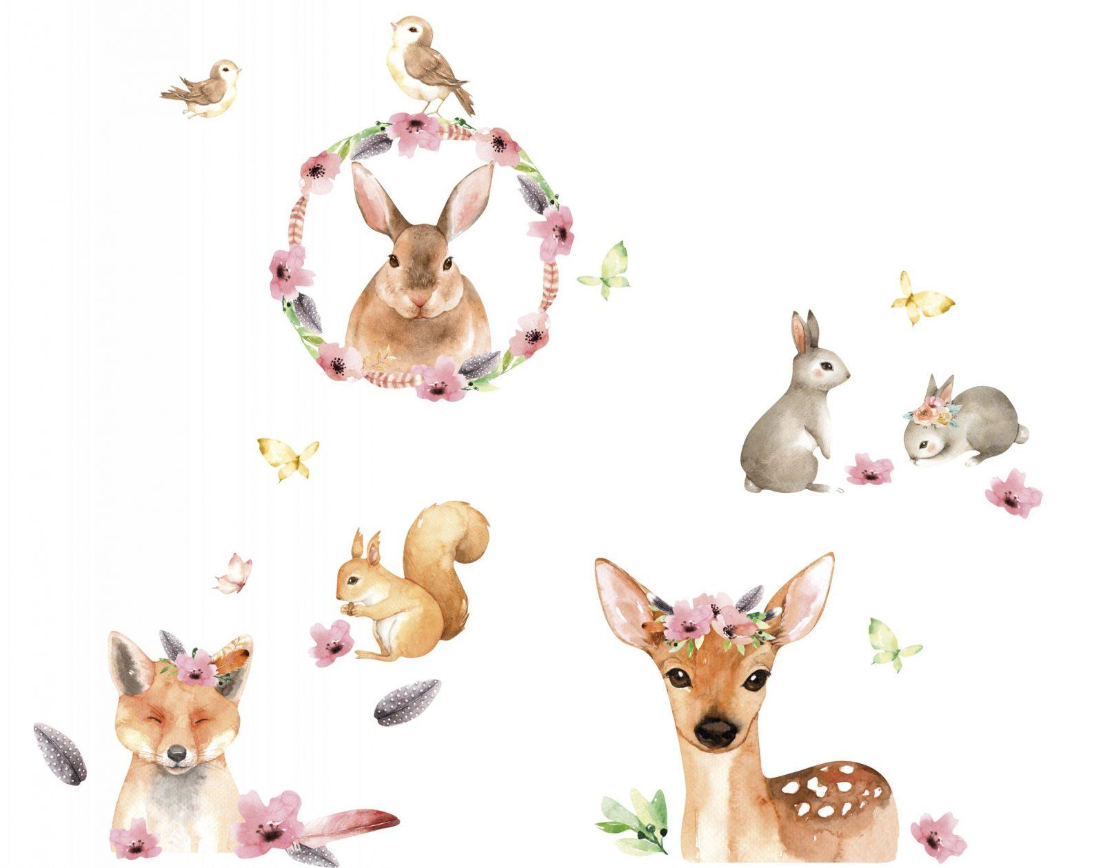 """Wandtattoo """"Friendly Forest"""" Rosabraungrau  Wandtattoos Für von Wandtattoo Kinderzimmer Junge Tiere Photo"""