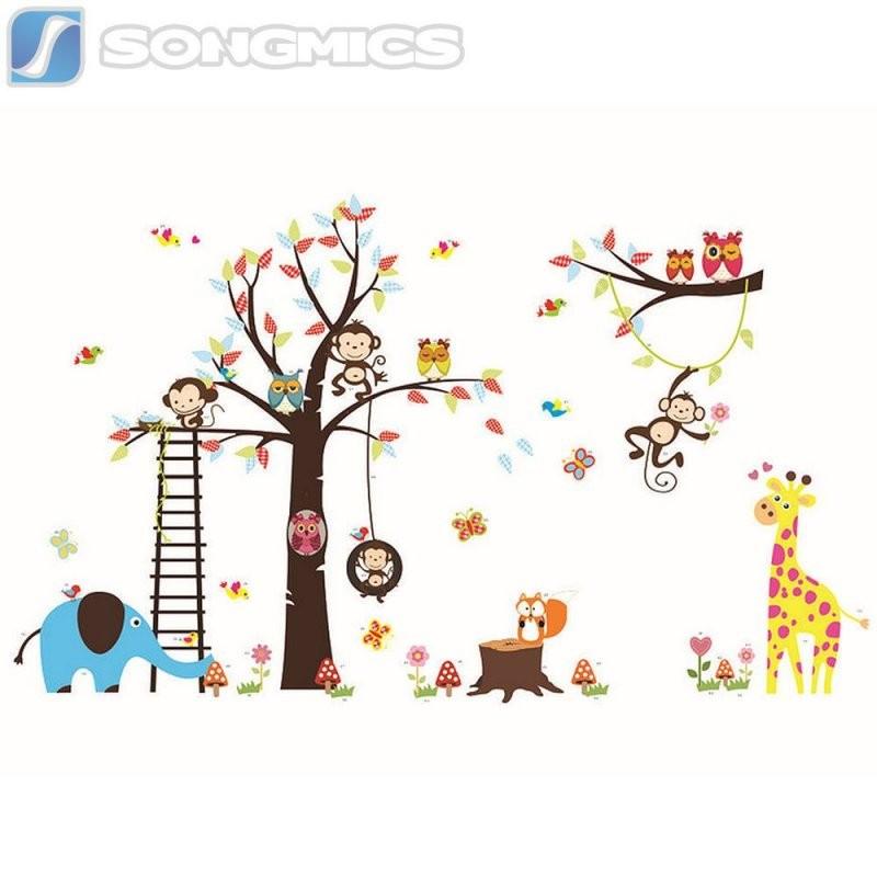 Wandtattoo Kinderzimmer Deko Wald Sticker Tiere Baum Affe Kinder Zoo von Wandtattoo Kinderzimmer Junge Tiere Bild