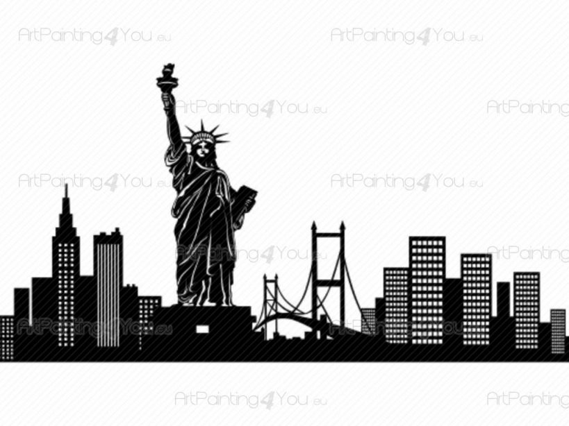 Wandtattoo New York Silhouette  Artpainting4Youeu®  (Vdv1032De) von Skyline New York Wandtattoo Photo