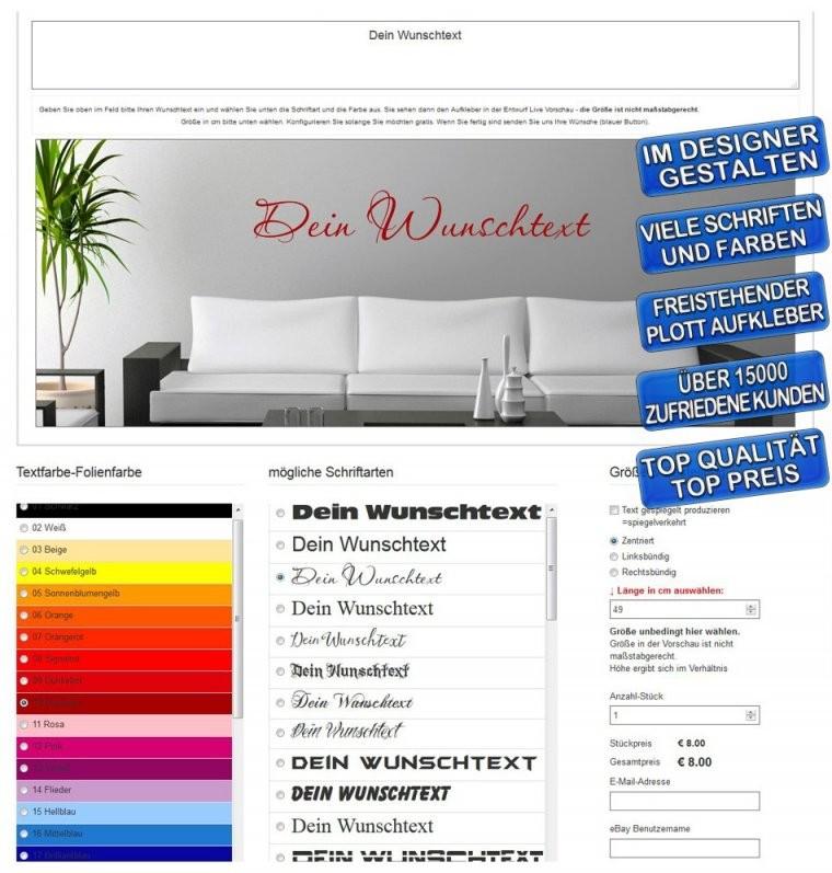Wandtattoo Selber Gestalten  Wunschtext Wandaufkleber Zitat Spruch von Wandtattoo Selber Gestalten Mit Fotos Bild