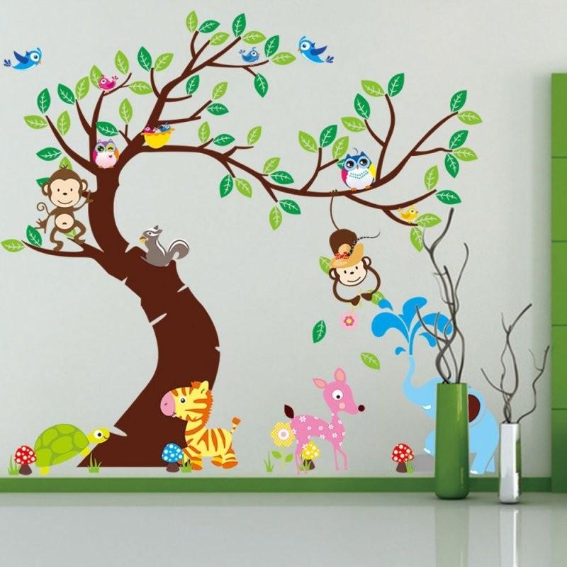 Wandtattoo Wald Sticker Lustige Tiere Baum Wandbild Affe Groß von Wandtattoo Kinderzimmer Junge Tiere Bild