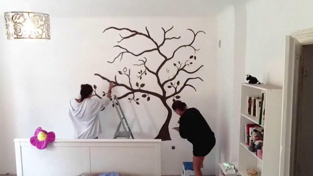 Wandtattoo  Wandbemalung Baum Schlafzimmer  Youtube von Wandtattoo Schlafzimmer Selber Malen Photo
