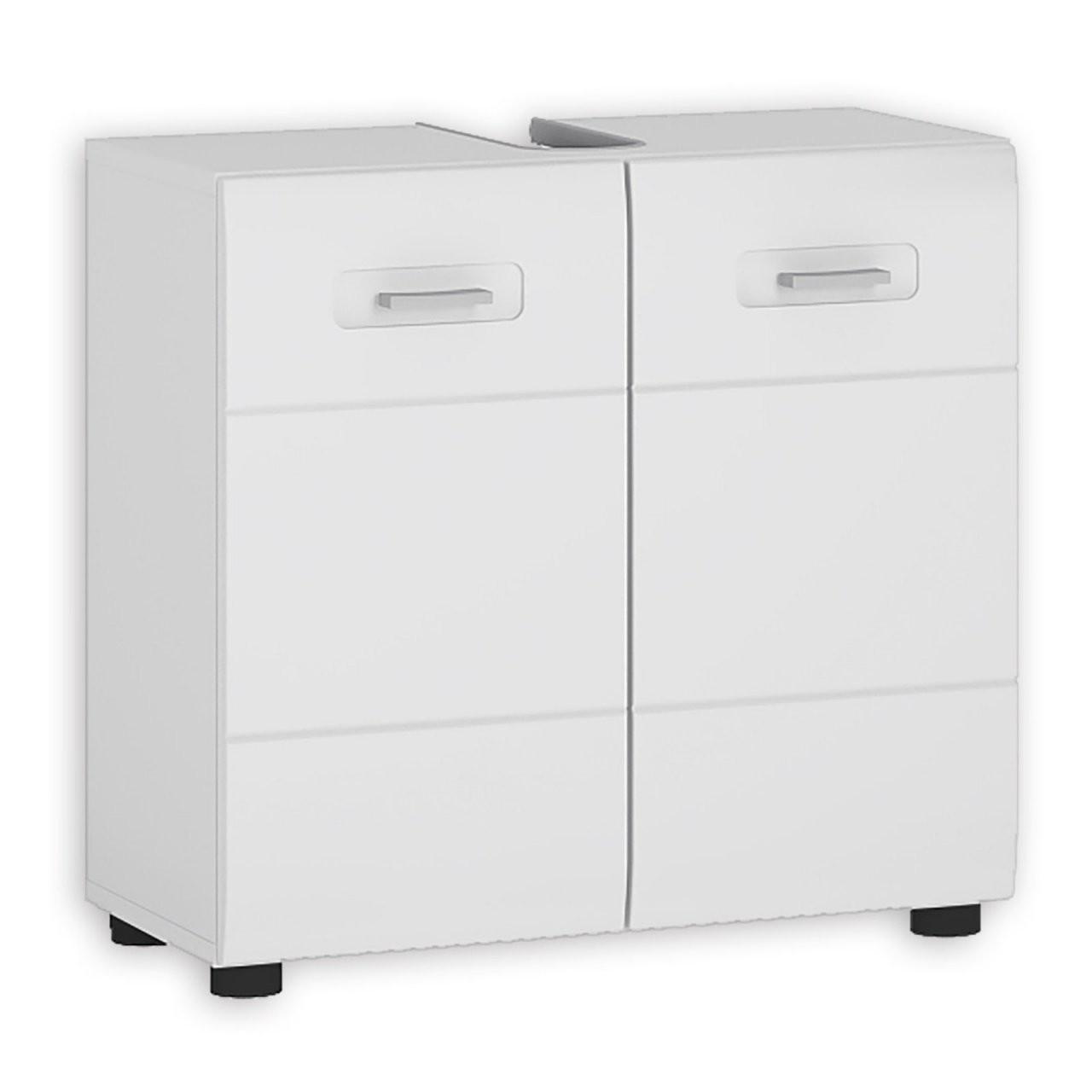 Waschbeckenunterschrank Java  Weiß Hochglanzalpinweiß  60 Cm von Waschbeckenunterschrank 40 Cm Breit Bild