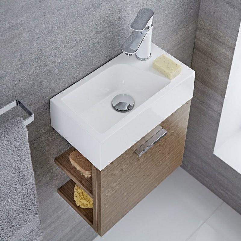 Waschtisch Für Gästewc Mit Unterschrank Eiche 400Mm Offene Regale von Wc Waschtische Mit Unterschrank Bild