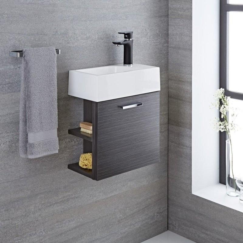 Waschtisch Für Gästewc Mit Unterschrank Grau 400Mm Offene Regale von Wc Waschtische Mit Unterschrank Photo