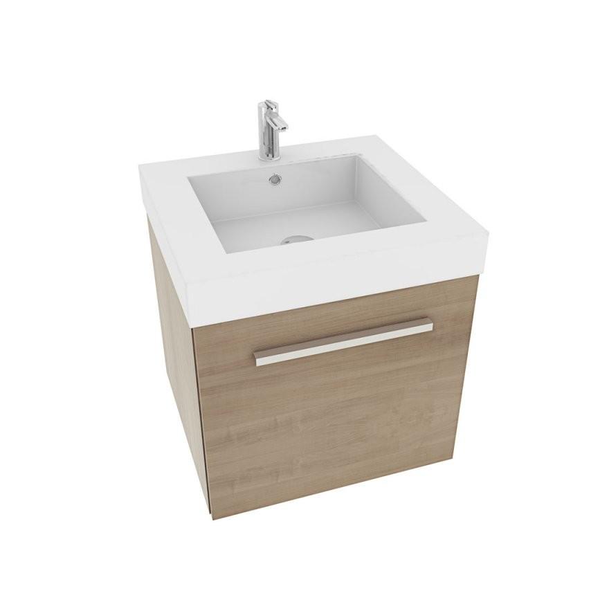 Waschtisch Mit Waschbecken Unterschrank City 100 50Cm Eiche Hell von Waschbecken Mit Unterschrank 50 Cm Bild