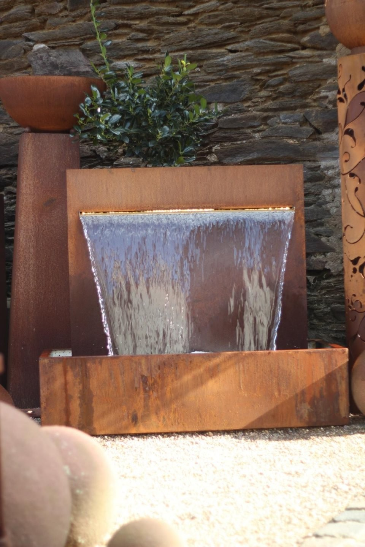 Wasserspiel Cortenstahl Wasserfall 90 Im Edelrost Design Inkl Pumpe von Zimmer Wasserfall Selber Bauen Bild
