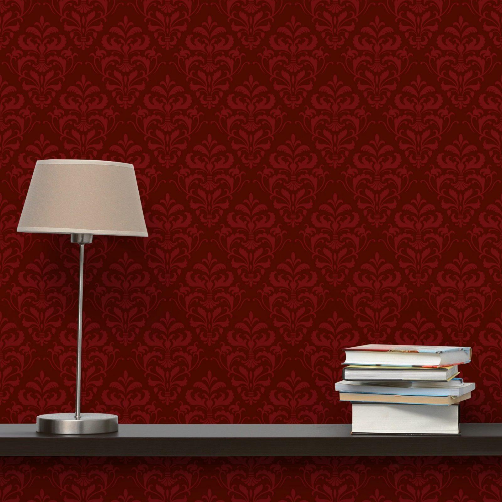 Weinrote Barock Tapete  Roter Französischer Barock  Vliestapete Breit von Rote Tapete Mit Muster Photo