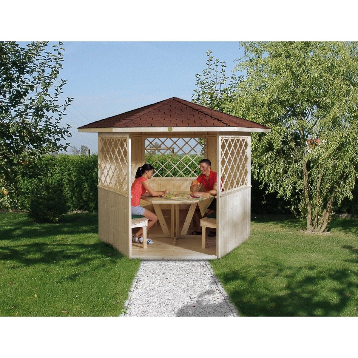 Weka Holzpavillon Mainau Natur Unbehandelt 223 Cm X 257 Cm Kaufen von Holz Pavillon 6 Eckig Bild