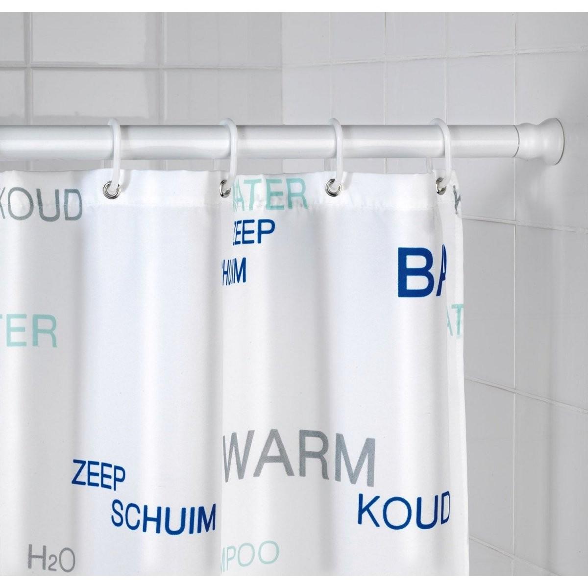 Wenko Duschvorhangstange 110 Cm  245 Cm Aluminium Weiß Ø 28 Cm von Duschvorhang Mit Stange Für Badewanne Photo