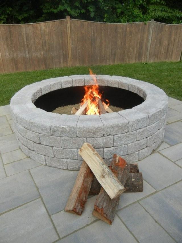 Wie Können Sie Eine Feuerstelle Bauen  60 Fotobeispiele von Feuerstelle Terrasse Selber Bauen Bild