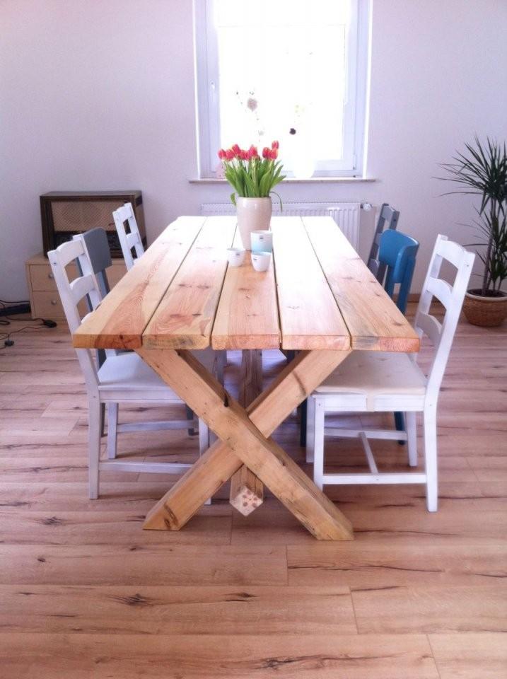 Wir Bauen Uns Einen Tisch  Diy Möbel  Tisch Selber Bauen von Rustikaler Holztisch Selber Bauen Bild