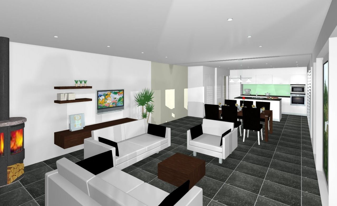 Wohnideen Wohnzimmer Mit Offener Kuche  Rubengonzalezclub von Wohnzimmer Mit Offener Küche Einrichten Photo