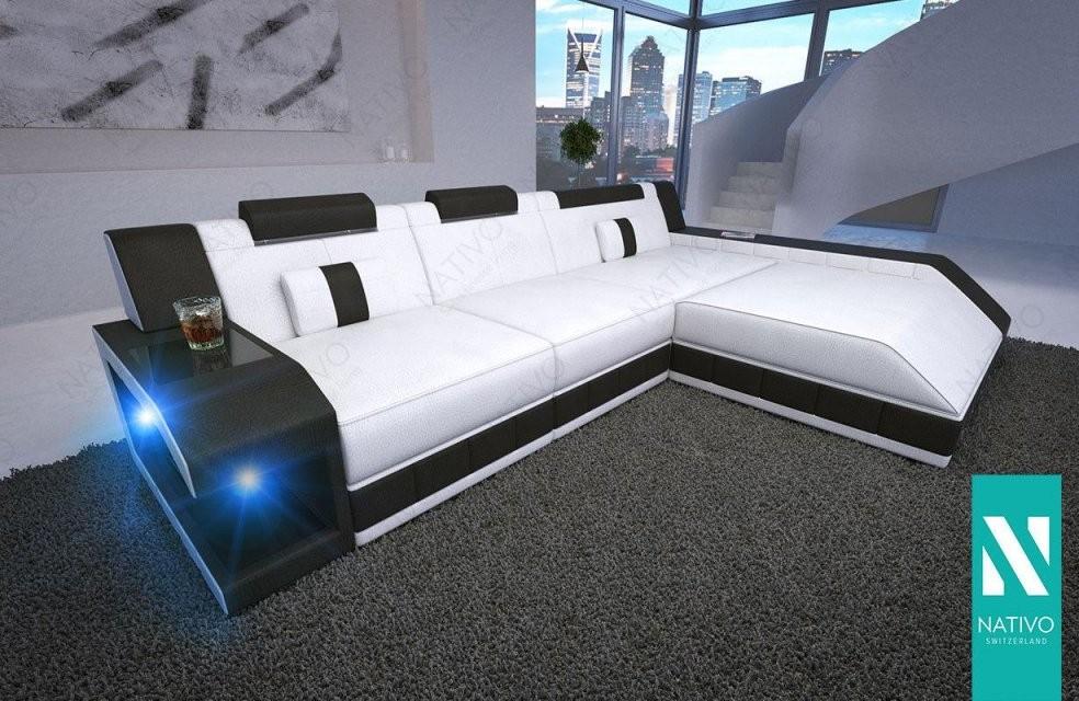 Wohnlandschaft Ledermix Sofa Matis Mini Mit Led Beleuchtung Nativo von Couch Mit Led Beleuchtung Photo