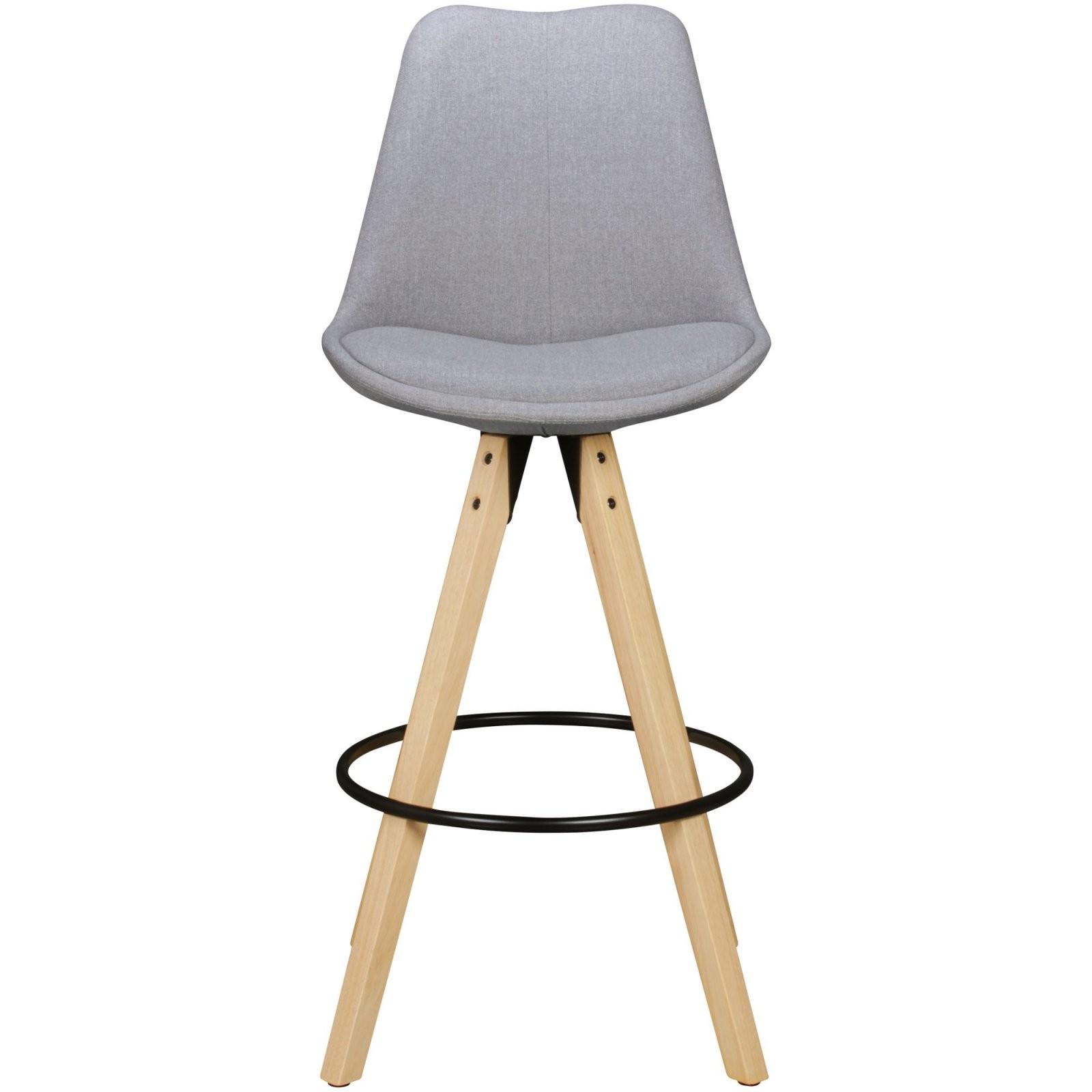 Wohnling 2Er Set Barhocker Lima Grau Retro Design Stoff Holz Mit von Barhocker Grau Mit Lehne Bild
