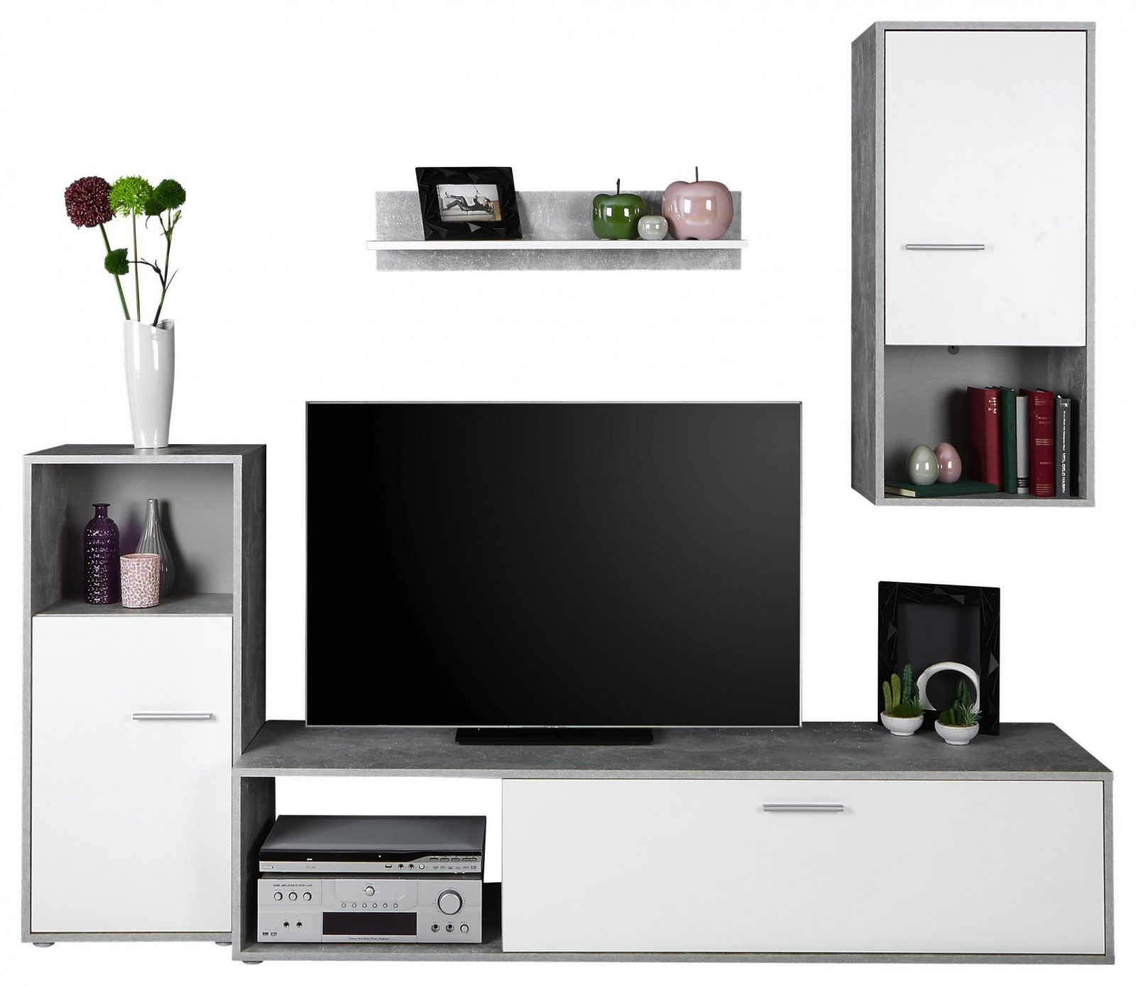 Wohnwand Aran B221Cm Betonoptik Perlweiß Dekor Online Kaufen von Wohnwand Unter 100 Euro Bild