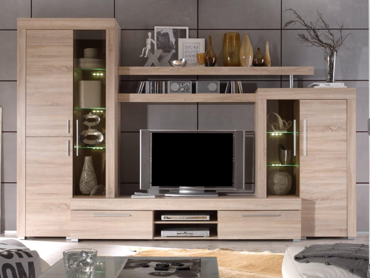 Wohnwand Boom Sonoma Eiche Hell 310 Cm Mit Led  Designermöbel von Wohnwand Sonoma Eiche Günstig Bild