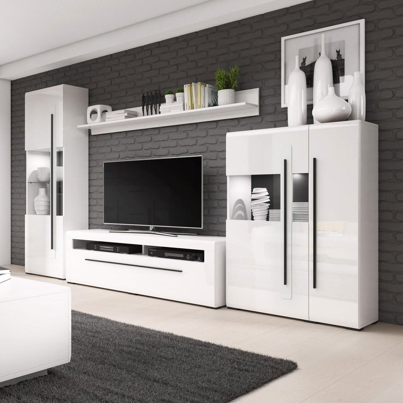 Wohnwand Twin  Hochglanz Weiß — Haus Möbel von Roller Wohnwand Weiß Hochglanz Photo