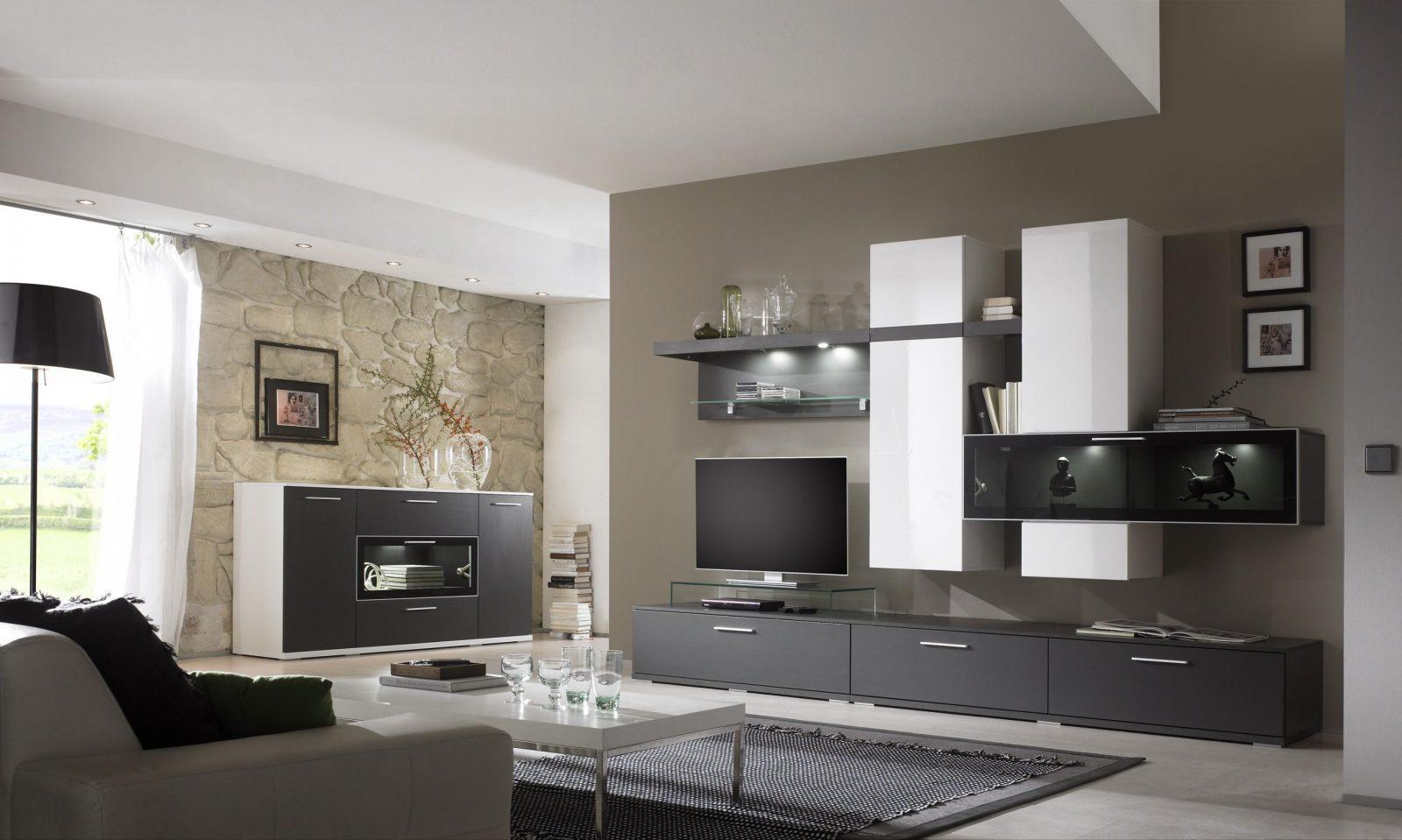 Wohnzimmer Wände Modern Streichen  Kreative Wandgestaltung von Wohnzimmer Grau Weiß Streichen Photo