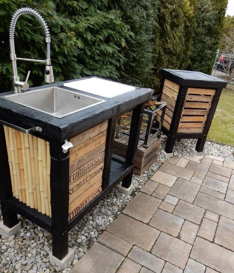 Wokküche Aussenküche Outdoorküche Outdoor Kitchen  Garden Ideas von Außenküche Selber Bauen Holz Photo