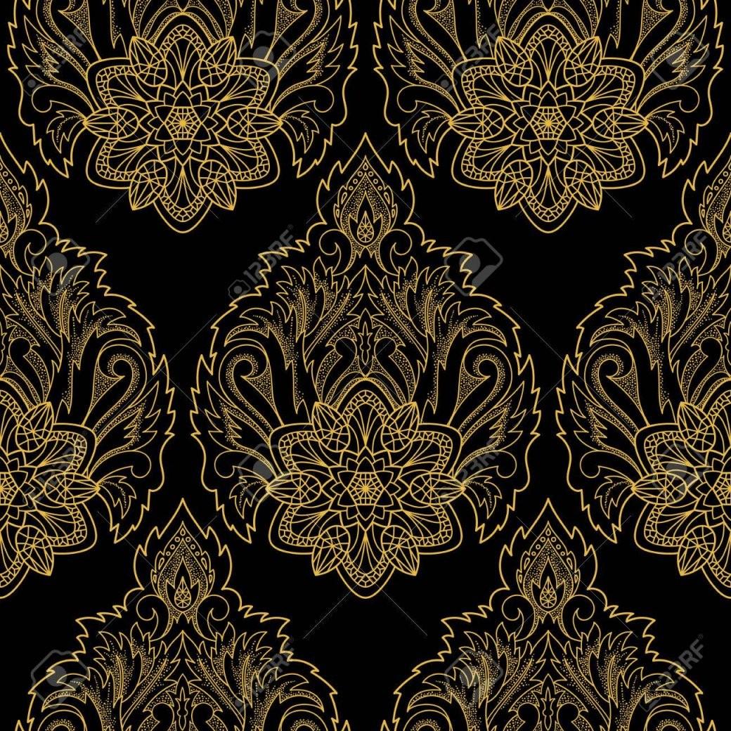 Zusammenfassung Dekorativen Lotus Nahtlose Muster Floral Gold Und von Schwarze Tapete Mit Muster Bild