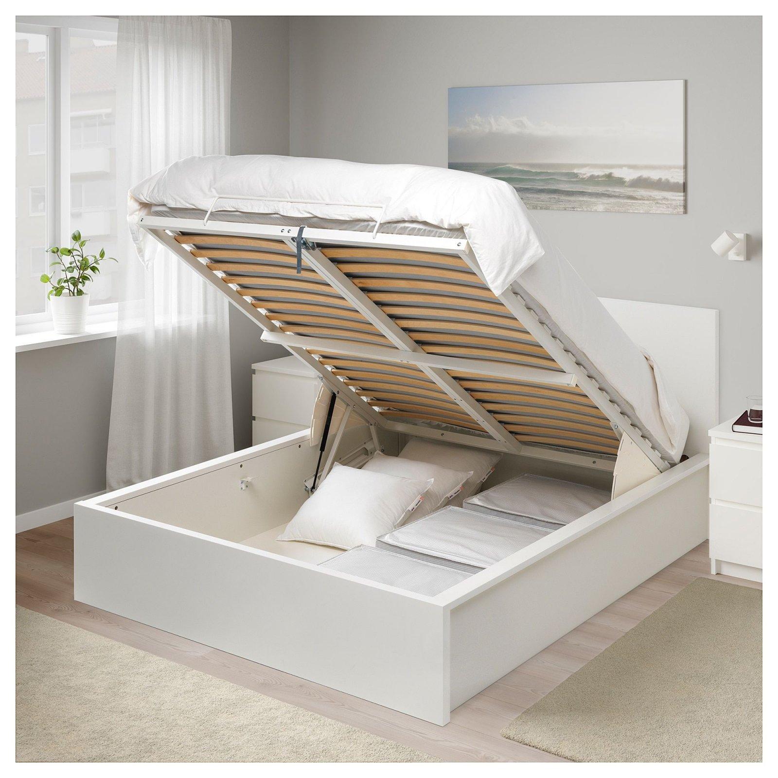 Malm Bettgestell Mit Aufbewahrung von Malm Bett 140X200 Weiß Photo