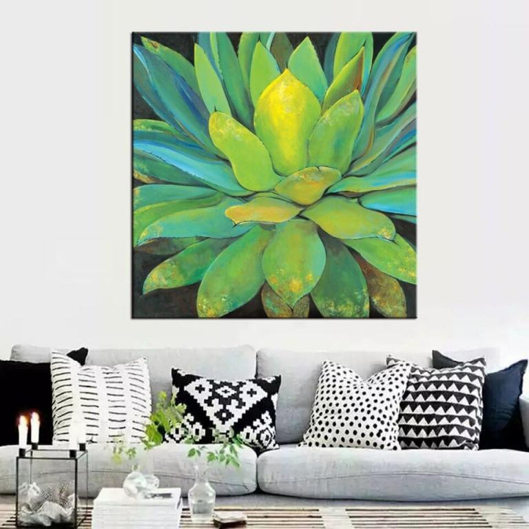 1 Panel Green Leaf Pflanzen Zitieren Poster Moderne Leinwandbilder  Wandbilder Für Wohnzimmer von Moderne Pflanzen Wohnzimmer Bild