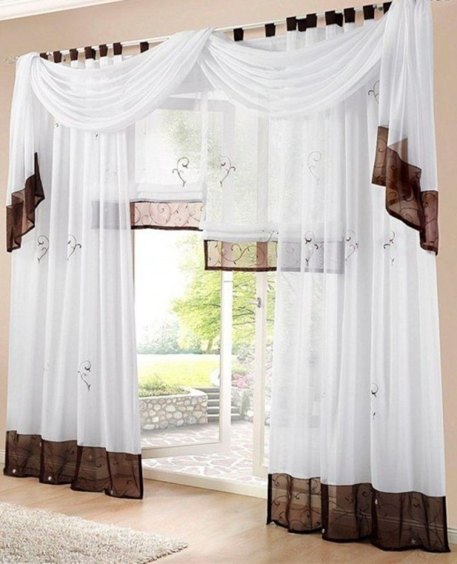 1 St Gardine Vorhang 140 X 145 Weiß Braun Schlaufen Schal von Schlaufen Gardinen Wohnzimmer Bild