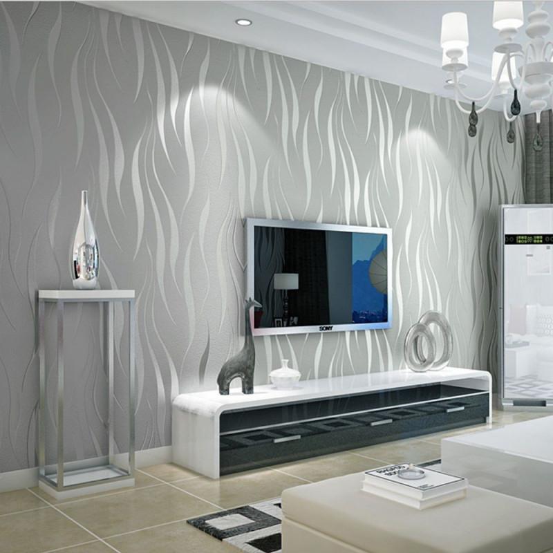 10M 3D Vlies Tapete Ornament Wellen Streifen Barock Design von Tapeten Ideen Wohnzimmer Grau Bild